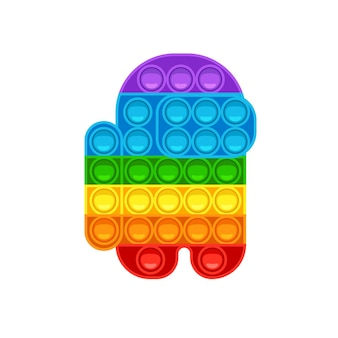 Among us shape pop it trendy antistress game hand toy with push bubbles in rainbow colors