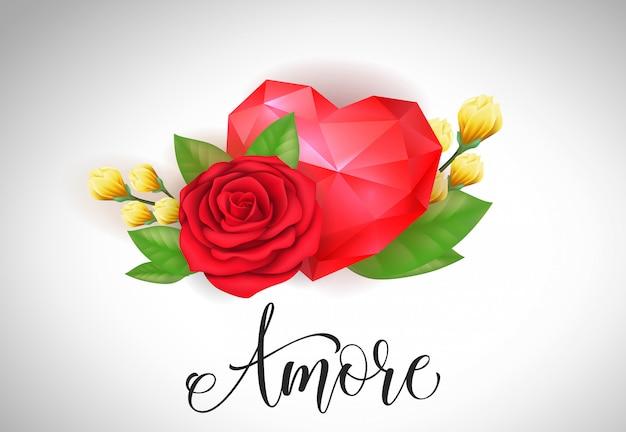 Amore lettering с красным сердцем и розой