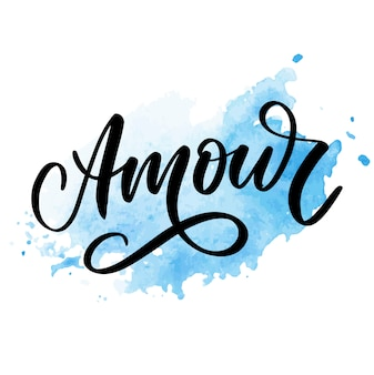Amour handwritten lettering with hand drawn flowers