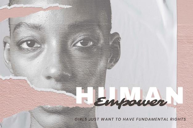 '휴먼 임파워' 인권 캠페인을 위한 벡터 여성 초상화
