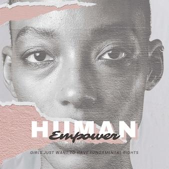 '휴먼 임파워' 인권 소셜 미디어 포스터를 위한 벡터 여성 초상화