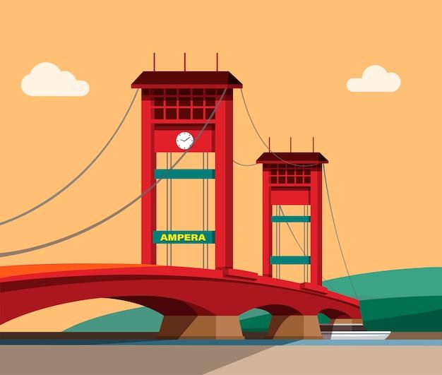인도네시아 남부 수마트라의 ampera 다리. 만화 그림에서 일몰 풍경 개념에서 유명한 랜드 마크 건물
