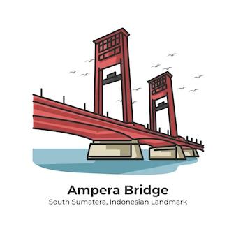 Ampera bridge indonesian landmark cute line illustration