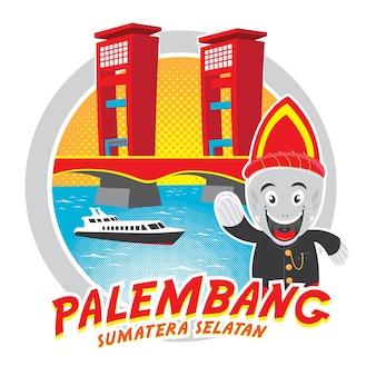 Ampera bridge isolated illustration palembang sumatera selatan indonesia