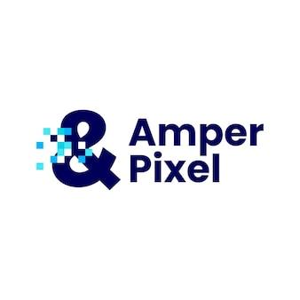 アンパサンド記号ピクセルマークデジタル8ビットロゴベクトルアイコンイラスト