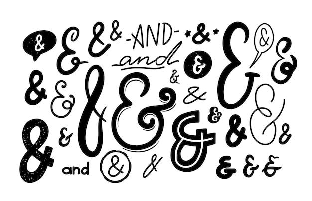 アンパサンド記号、白い背景で隔離のモノクロフォントシンボル。エレガントなスクリプト、招待状、グリーティングカード、グリフ、手紙の書き方、ベクトルイラスト、セットの書道のデザイン要素