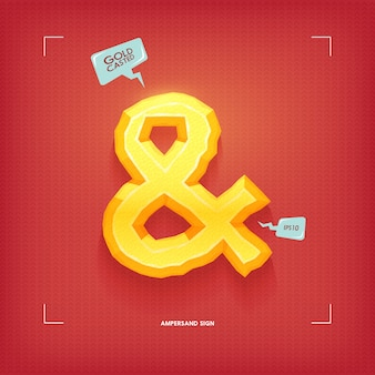 Ampersand symbol. golden jewel typeface element. gold casted.  illustration.