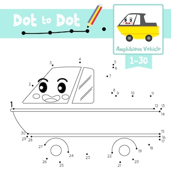 Amphibious vehicle dot to dot game and coloring book