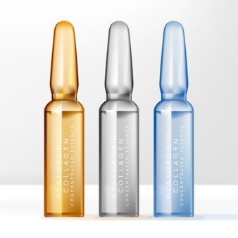 美容またはスキンケア製品用のアンプルボトルコンテナー。クリア、ブルー、イエロー。