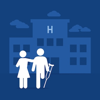 Amputee man and woman over hospital building