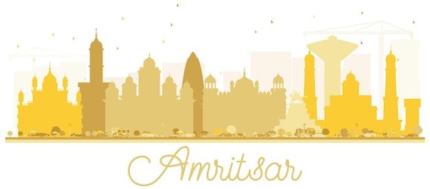 암리차르 시 스카이라인 황금 실루엣입니다. 관광 프레젠테이션, 배너, 현수막 또는 웹 사이트를 위한 단순한 평면 개념입니다. 랜드마크가 있는 암리차르 도시 풍경. 벡터 일러스트 레이 션.
