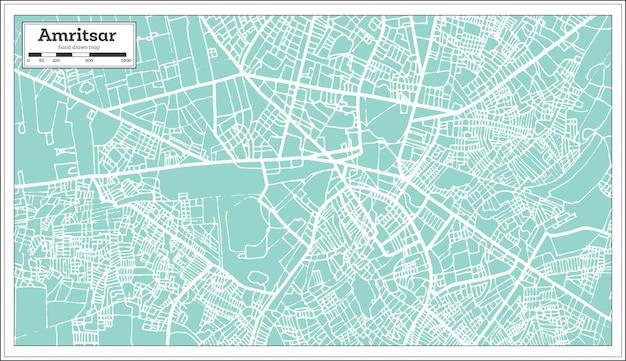 Карта города амритсар индия в стиле ретро. контурная карта. векторные иллюстрации.