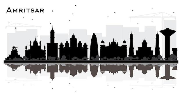 흰색 절연 검은 건물과 암리차르 인도 도시 스카이 라인 실루엣. 벡터 일러스트 레이 션. 역사적인 건축과 비즈니스 여행 및 관광 개념입니다. 랜드마크가 있는 암리차르 도시 풍경.