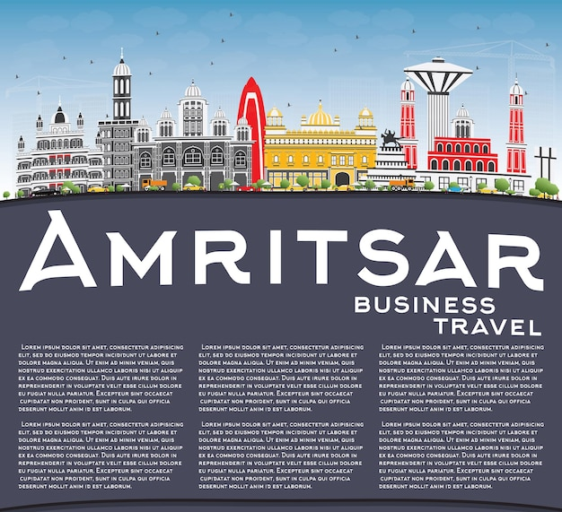Amritsar skyline with gray buildings, blue sky and copy space. vector illustration. business travel and tourism concept with historic architecture. image for presentation banner placard and web site.