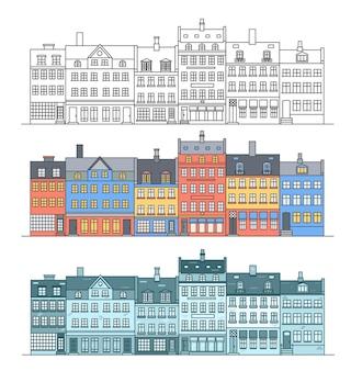 다양한 행 주택이 있는 암스테르담 건물 스카이라인 도시 풍경