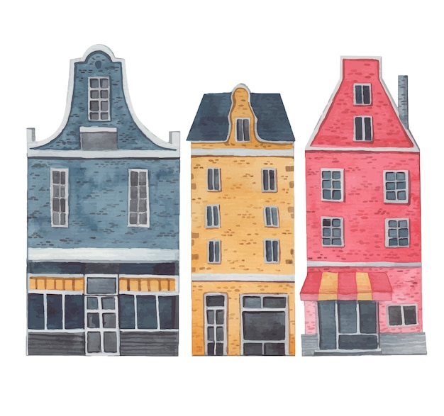 Amsterdam city, decorative houses on a white background