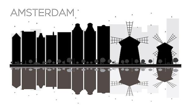 반사와 암스테르담 시 스카이 라인 흑백 실루엣. 벡터 일러스트 레이 션. 관광 프레젠테이션, 배너, 현수막 또는 웹 사이트를 위한 단순한 평면 개념입니다. 랜드마크가 있는 도시 풍경.