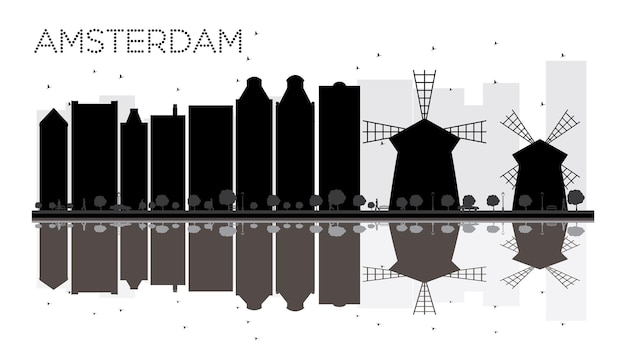 Amsterdam city skyline black and white silhouette with reflections. vector illustration. simple flat concept for tourism presentation, banner, placard or web site. cityscape with landmarks.