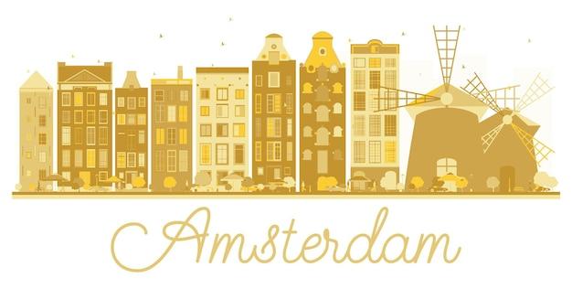 암스테르담 시 스카이 라인 황금 실루엣입니다. 벡터 일러스트 레이 션. 비즈니스 여행 개념입니다. 랜드마크가 있는 암스테르담 풍경.