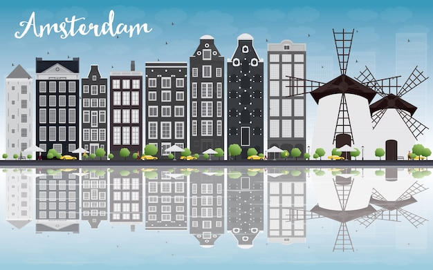 Amsterdam city skyline with grey buildings and reflection