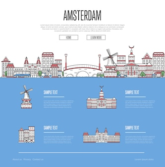 Amsterdam city travel vacation webpage