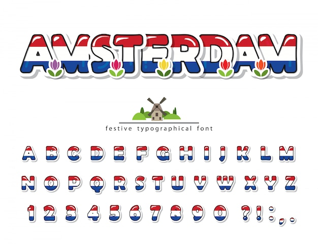 Amsterdam creative font, netherlands national flag colors.