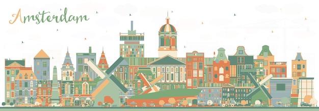 색상 건물이 있는 암스테르담 네덜란드 도시의 스카이라인. 벡터 일러스트 레이 션. 역사적인 건축과 비즈니스 여행 및 관광 개념. 랜드마크가 있는 암스테르담 네덜란드 풍경입니다.
