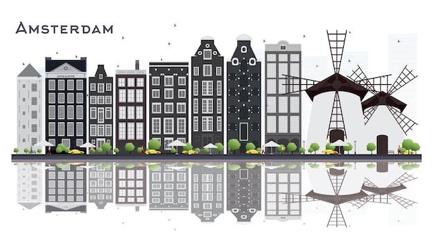 흰색 배경에 고립 된 회색 건물 암스테르담 네덜란드 도시의 스카이 라인. 벡터 일러스트 레이 션. 비즈니스 여행 및 관광 개념입니다. 랜드마크가 있는 암스테르담 풍경.