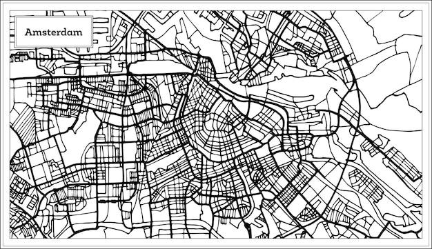 흑백 색상의 암스테르담 네덜란드 지도입니다. 벡터 일러스트 레이 션. 개요 지도.