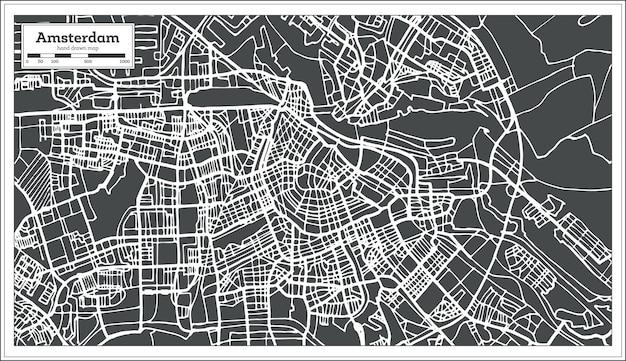 레트로 스타일의 암스테르담 네덜란드 지도입니다. 벡터 일러스트 레이 션. 개요 지도.
