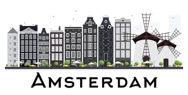 흰색 배경에 고립 된 회색 건물 암스테르담 네덜란드 스카이 라인. 벡터 일러스트 레이 션. 비즈니스 여행 및 관광 개념입니다.