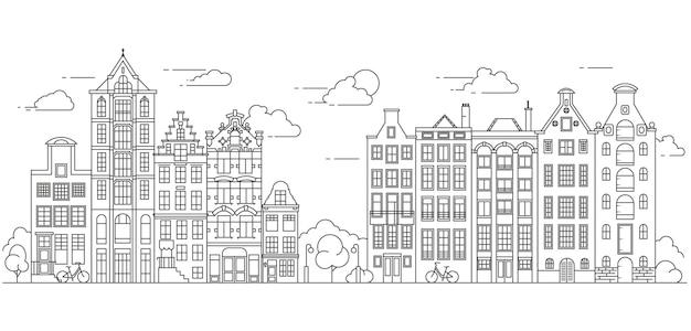 Дома в амстердаме типичные голландские дома у канала в нидерландах здание и фасады