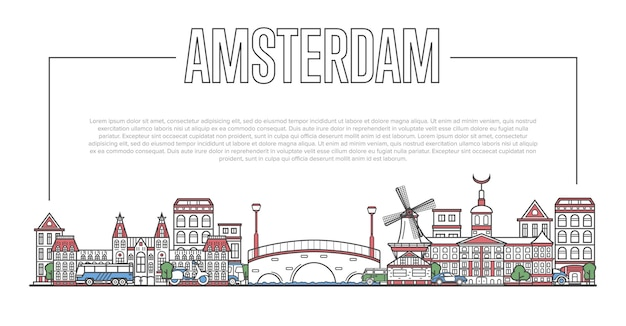 Amsterdam landmark panorama in linear style
