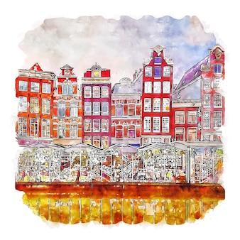 Amsterdam netherland watercolor sketch hand drawn illustration