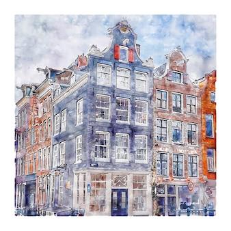 암스테르담 네덜란드 수채화 손으로 그린 그림
