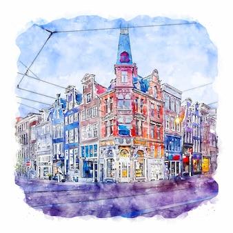Amsterdam netherlands watercolor sketch hand drawn illustration