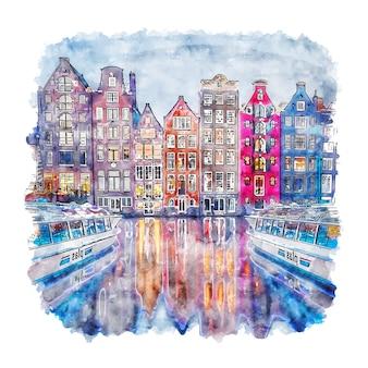 암스테르담 네덜란드 수채화 스케치 손으로 그린 그림