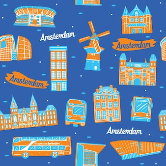 랜드마크 요소와 암스테르담 원활한 패턴