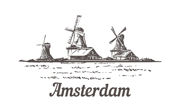 Эскиз амстердама, пейзаж зансе шанс