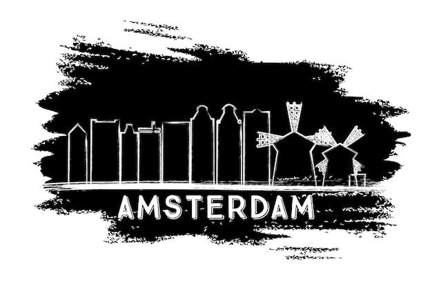 암스테르담 스카이 라인 실루엣입니다. 손으로 그린 스케치. 벡터 일러스트 레이 션. 현대 건축과 비즈니스 여행 및 관광 개념입니다. 프레젠테이션 배너 현수막 및 웹사이트용 이미지.