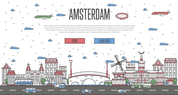 Amsterdam skyline with national famous landmarks