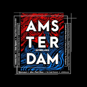 Amsterdam tshirt and poster graphic design in abstract style vector illustration