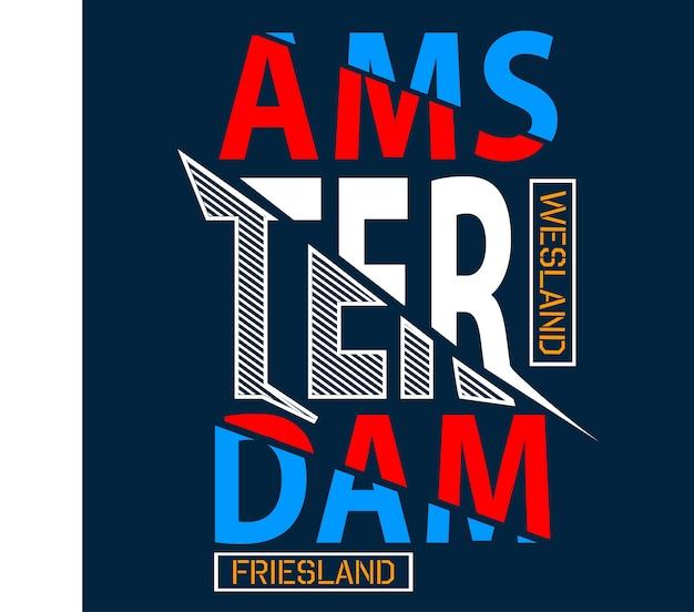 암스테르담 타이 포 그래피 티셔츠 벡터