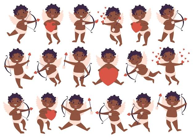 アムールキューピッドアフリカ系アメリカ人の赤ちゃんの天使の大きなバンドルセット