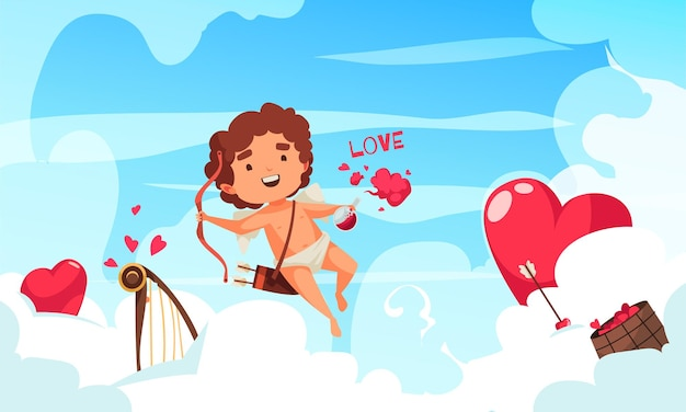Amur cupid valentine day composition with character of amoretto flying among clouds red hearts and harp