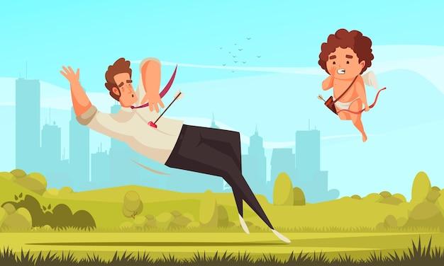 Амурский амур, композиция на день святого валентина с пейзажем на открытом воздухе, городским пейзажем и летающим персонажем аморетто с застреленным человеком
