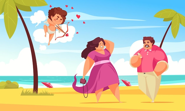 Amur cupid valentine day couple composition with tropical beach landscape and character of amor with couple