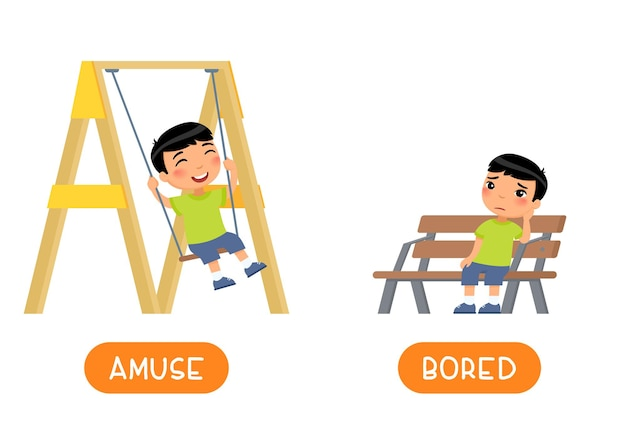 Amuse and bored antonyms word card, opposites concept.