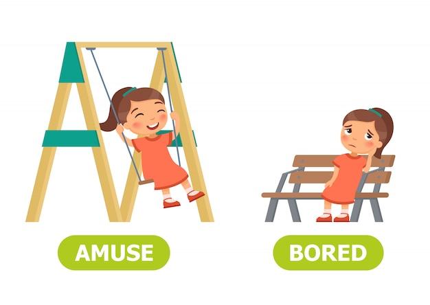 Amuse and bored illustration.