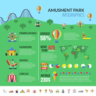 Amusemennt park attractions visitors infographics